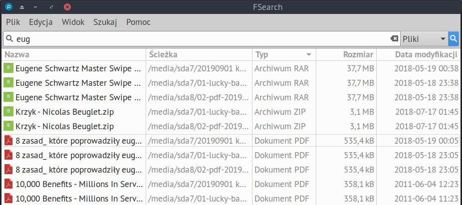 Sortowanie plików w FSearch według nazwy i innych parametrów