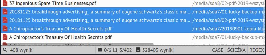 Informacje o wyszukiwanych plikach i katalogach na pasku stanu w FSearch