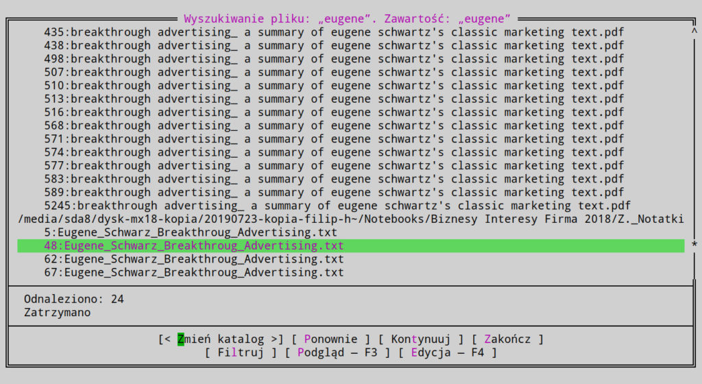 Wyświetlanie plików po szukaniu wybranego słowa zawartego w pliku o szukanej nazwie w menedżerze plików mc